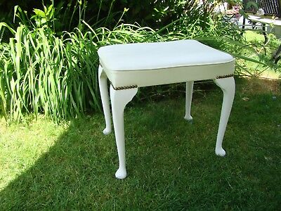 Dressing Table Stool Off White Faux Leather Top Solid Pine With Cabriole Legs