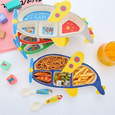 1 Set 3PCS Aircraft Shaped Tableware Plate Divided Bowl Fork Spoon Kids Cutlery