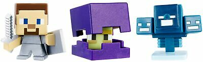 Minecraft Mini Figure 3-Pack - Shulker, Steve with Shield, Skullfire Wither -...