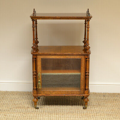 Spectacular Burr Walnut Victorian Antique Music Cabinet