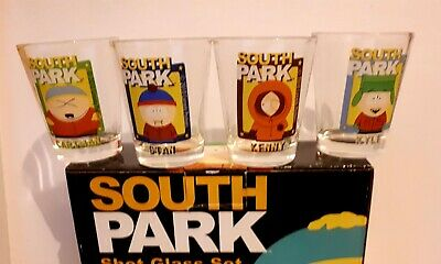 SHOT GLASSES Boxed Set Of 4, 56ml, South Park Character Shot Glasses  New in Box