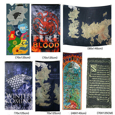 "Game of Thrones House Sigils Westeros Map GOT Wall Banner TV Poster (30"" by 50"")"