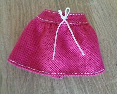Barbie Doll Clothes Dark Pink Sports Fan Skirt White Bow Stitching