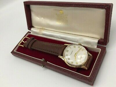 Vintage 9k 9ct solid gold Mens Garrard watch (Very Clean) Boxed