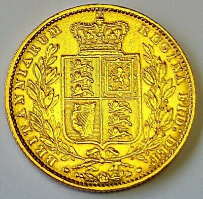 1860 Shield Back early Victorian full gold sovereign, 99p start auction no res.