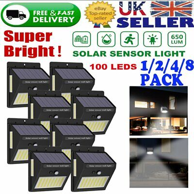 1/2/4/8 x Solar LED Garden Fence Light Wall Patio Door Decking Outdoor Shed Lamp