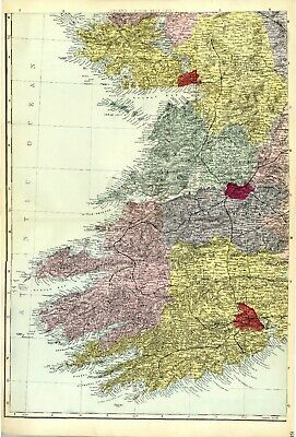 1883 Antique Map IRELAND SW Kerry CLARE Cork HOUSES Railways STATIONS Castles
