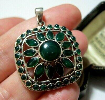 Large New Vintage Style Sterling Silver Green Onyx Sunflower Necklace PENDANT