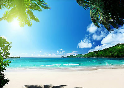 Tropical Exotic Beach Hut Sea Holiday Poster Art Print in multiple sizes