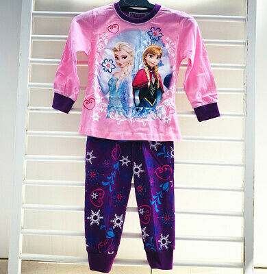Frozen Girls Kids Sleepwear Long Sleeve Pyjamas Set T-shirt Waist Pant COTTON