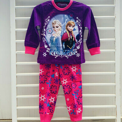 FROZEN Kids Quality Sleepwear Long Sleeve Pyjamas Set T-shirt Waist Pant COTTON