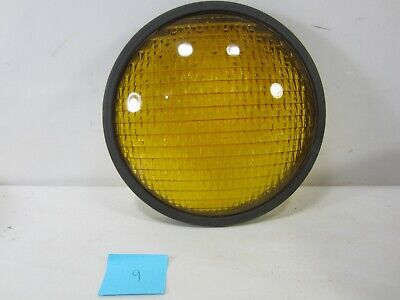 "Vintage Crouse-Hinds Type T-3 Yellow Glass 8 3/8"" Traffic Lens w/Gasket  #9"