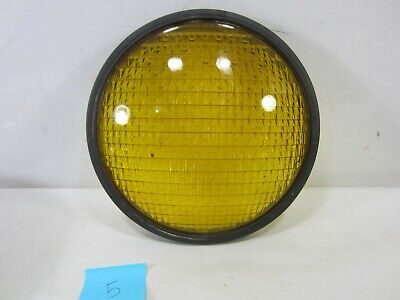 "Vintage Crouse-Hinds Type T-3 Yellow Glass 8 3/8"" Traffic Lens w/Gasket #5"