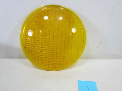 "Vintage Crouse-Hinds Type T-3 Yellow Glass 8 3/8"" Traffic Lens #1"