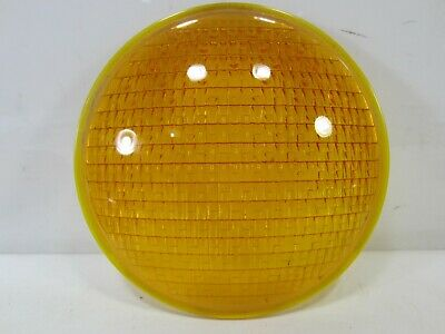 "Vintage Crouse-Hinds Type T-3 Yellow Glass 8 3/8"" Traffic Lens  #6"