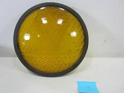 "Vintage Crouse-Hinds Type T-3 Yellow Glass 8 3/8"" Traffic Lens w/Gasket #3"