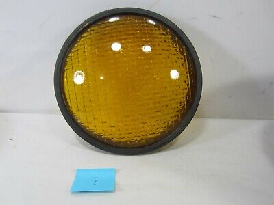 "Vintage Crouse-Hinds Type T-3 Yellow Glass 8 3/8"" Traffic Lens w/Gasket  #7"