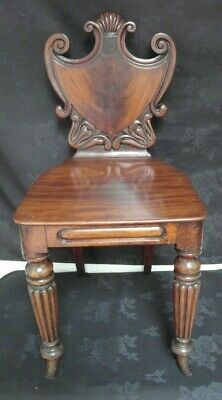 Antique Regency Shield back  Mahogany Hall Chair in The Manner of Gillow's
