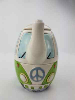 VW CAMPER VAN TEA FOR ONE TEAPOT & CUP PEACE NUMBER PLATE GREEN HIPPY stackable