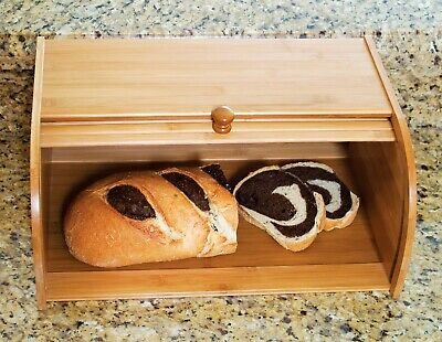 Bamboo Roll Top with lip Bread Box Kitchen Food + Bread Storage