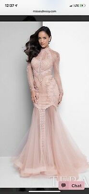 489b012d2d96c BLUSH PINK TERANI COUTURE LONG SLEEVE GOWN 1712gl3579 SZ 4 WEDDING AND PROM