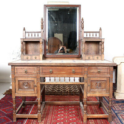 Antique 19th Century Oak Tiled Dressing Table Country Arts & Crafts Rustic