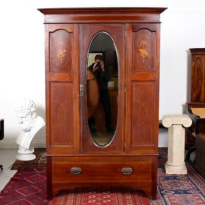 Antique Victorian Wardrobe Mirrored Inlaid Mahogany 19th Century