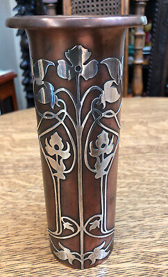 """Antique Heintz Sterling Silver And Bronze Arts & Crafts Vase 8"""" Tall Beautiful"""