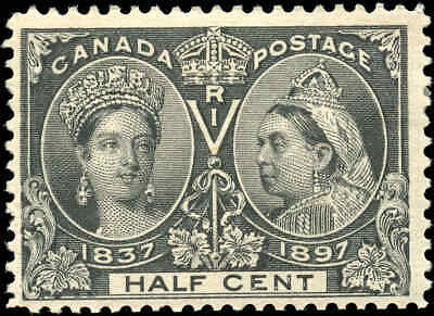 1897 Mint Canada Scott #50 1/2c Diamond Jubilee Issue Stamp Hinged