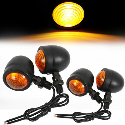 4x Motorcycle Retro Amber Turn Signal Indicators Metal Bulb Lights Rear Front UK