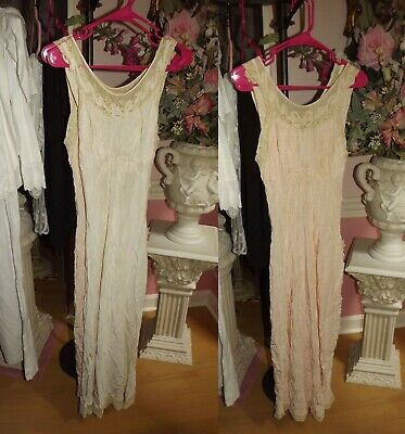 2 ANTIQUE VINTAGE Dainty Bow Net Edging Lace LADIES LINGERIE Gowns Salvage Trim