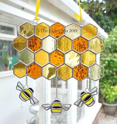 Bumble Bees & Honeycomb Chain linked Stained Glass Art Gift Suncatcher Handmade
