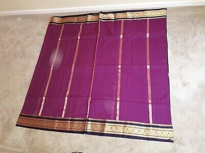 Pink & Purple Ladies Saree & Blouse  with gold patterns (S/M Size)