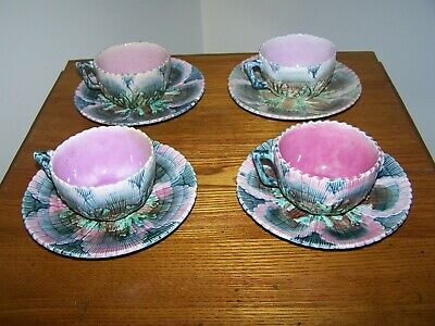 4 Antique Griffin Smith & Hill Etruscan Shell & Seaweed Majolica Cups & Saucers