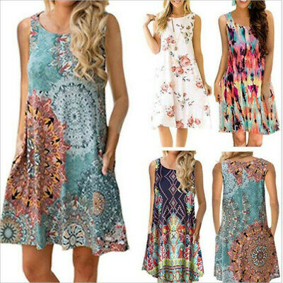 Jumper Skirt Women's Boho Mini Round neck Dress Sleeveless Printed Sundress