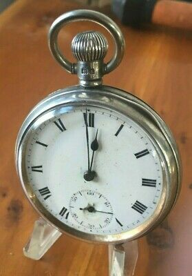 Vintage  solid silver Cased Open Faced 1929 Gents Pocket watch by A.L.D