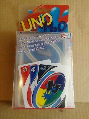 NEW Mattel Uno H2O To Go Classic Card Game Waterproof Clear Cards Free Shipping
