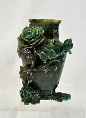 Antique Vintage Chinese Spinach Jade Finely Carved Vase Ornament