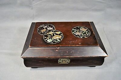 Antique Chinese Oriental MOP Inlay Lacquer Jewellery Game Box