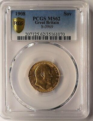 AWAY - 1908 King Edward VII Full Gold Sovereign PCGS MS62 London, Great Britain