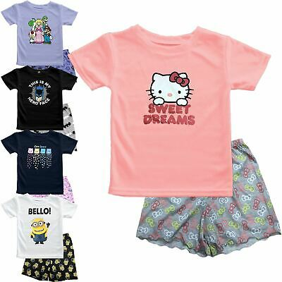 Kids Girls Care Bear Hello Kitty Minion Super Mario Pyjama Shirt Shorts Set 2-14