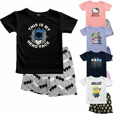 Girls Boys Kids Batman Hello Kitty Super Mario Pajamas PJ's Shorts Set 2-14 Yrs