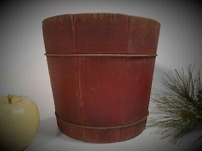 AAFA Antique Early Wood Staved Firkin Type Child Bucket Original Dry Red Paint