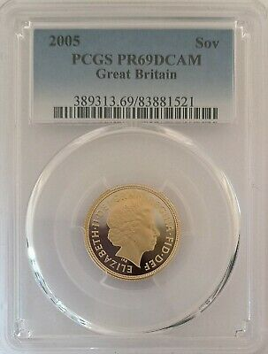 AWAY - 2005 Proof PCGS PR69 DCAM - Queen Elizabeth GB Full Gold Sovereign
