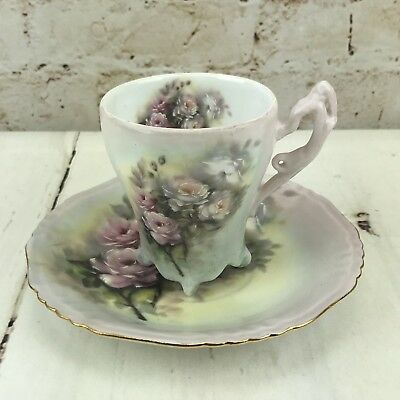 Tea Cup & Saucer Pink Roses Footed Fine Porcelain Gold Accented Hand Decorated