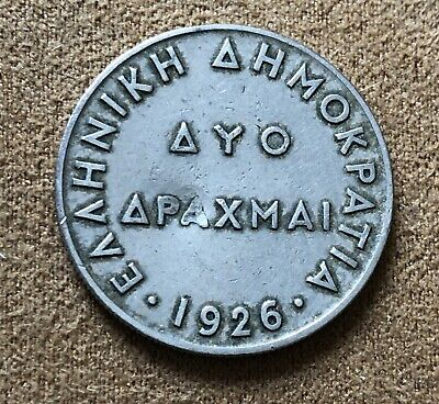 1926 Greece Drachma Coin - Dented- - Ref 375