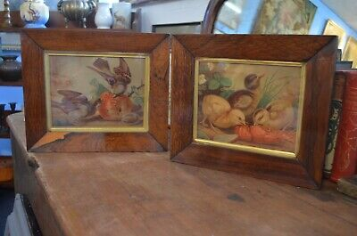 Pair Late 19th Century Rosewood Framed Paintings Of Birds Feeding