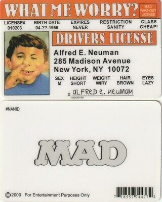 NATIONAL Lampoon  MAD MAGAZINE Alfred E Neuman drivers License fake id card