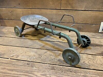 Vintage Coaster Child's Sit On Kids Pull Wagon Early Metal Seat Toy Wheels Old 1