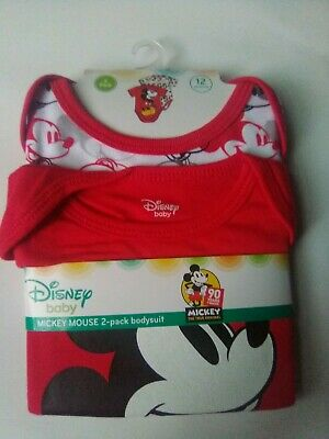 235de5975 Disney Mickey Mouse Baby Boys 2-Pack Bodysuits Infant One Piece 12 months  Size